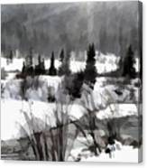 Winter Scene In Black And White Canvas Print