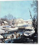 Winter Scene: Morning 1854 Canvas Print