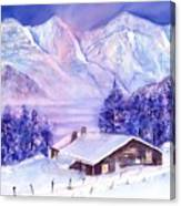 Swiss Mountains - Winter Scene With Eiger Moench Jungfrau Canvas Print