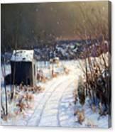 Winter Sleep North On River Road Bucks County Canvas Print
