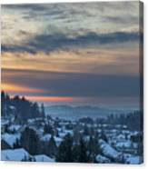 Winter Snow At Sunset In Happy Valley Oregon  Canvas Print