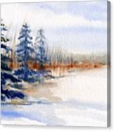 Winter Storm Watercolor Landscape Canvas Print