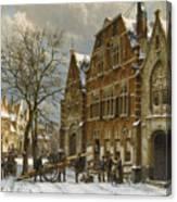 Winter Street Scene. Oudewater Canvas Print