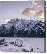 Winter Sunrise Lake Minnewanka Canvas Print