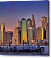 Winter Sunrise Over Downtown Manhattan Canvas Print