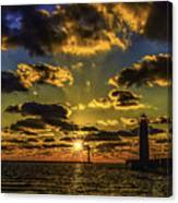 Winter Sunset At Muskegon Channel Light Canvas Print