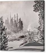 Winter Thermal Steam - Yellowstone Canvas Print