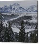 Winter View Of The Snake River, Grand Canvas Print