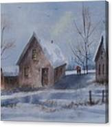 Winter Walk, Watercolor Painting Canvas Print