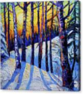 Winter Woodland Sunset Modern Impressionism Palette Knife Oil Painting Canvas Print