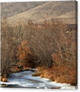 Winter Yakima River With Hills And Orchard Canvas Print