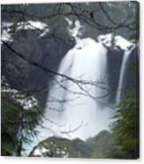 Wintertime Shahalee Falls Obscured By Branches Canvas Print