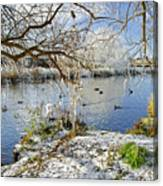 Wintry River At Newton Road Park Canvas Print