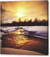 Wintry Sunset Reflections Canvas Print