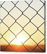 Wire Mesh Fence On A Sunset Background Canvas Print