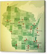 Wisconsin Map Square Cities Straight Pin Vintage Canvas Print
