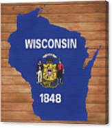 Wisconsin Rustic Map On Wood Canvas Print