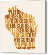 Wisconsin State Outline Word Map Canvas Print
