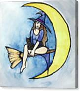 Witch And Moon Canvas Print