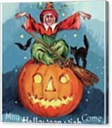Witch In A Big Pumpkin Canvas Print
