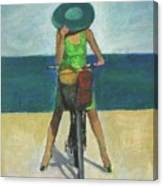 With Bike On The Beach Canvas Print