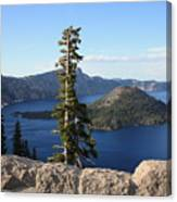 Wizard Island With Rock Fence At Crater Lake Canvas Print