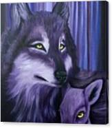 Wolf And Reindeer Canvas Print