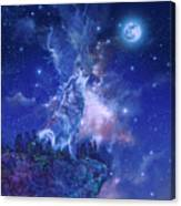 Wolf And Sky Blue 2 Canvas Print