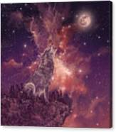 Wolf And Sky Red Canvas Print