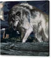 Wolf At Night Canvas Print