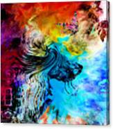 Wolf Playing With Butterflies Canvas Print