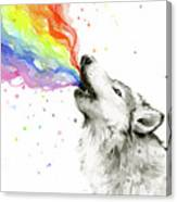 Wolf Rainbow Watercolor Canvas Print