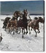 Wolves In Pursuit By Alfred Wierusz-kowalski 1849-1915 Canvas Print