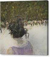 Woman And Croud In Park Canvas Print