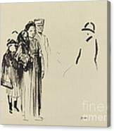 Woman And Two Children With German Soldiers Canvas Print
