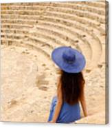Woman At Greco-roman Theatre At Kourion Archaeological Site In C Canvas Print