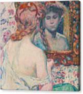Woman At The Mirror  Canvas Print