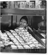 Woman Behind Fast Food Counter Canvas Print