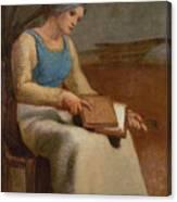 Woman Carding Wool Canvas Print
