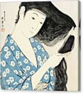 Woman Combing Her Hair Kami Sukeru Onna Canvas Print
