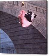 Woman Committing Suicide By Jumping Off Of A Bridge Canvas Print