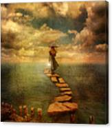 Woman Crossing The Sea On Stepping Stones Canvas Print
