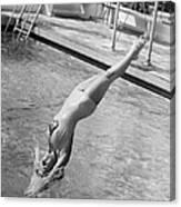 Woman Doing A Back Dive Canvas Print
