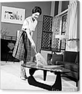Woman Dusting, C.1950-60s Canvas Print