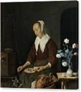 Woman Eating Canvas Print