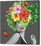 Woman Floral  Canvas Print