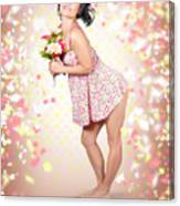 Woman Holding Flowers In Hands. Spring Celebration Canvas Print
