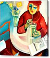 Woman In A Cafe Canvas Print
