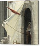 Woman In A Doorway. Rome Canvas Print
