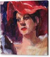 Woman In A Floppy Red Hat Canvas Print